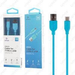 Cable Usb Tipo C Azul 2.4A de Carga Rápida y 1 Metro para Móvil Tablet