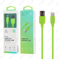 Cable Lightning Verde 2.4A de Carga Rápida y 1 Metro para iPhone y iPad