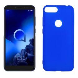 Funda silicona azul Alcatel 1S 2019, trasera mate semitransparente