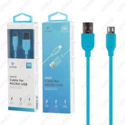 Cable Micro Usb Azul 2.4A de Carga Rápida y 1 Metro para Móvil Tablet