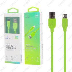 Cable Micro Usb Verde 2.4A de Carga Rápida y 1 Metro para Móvil Tablet