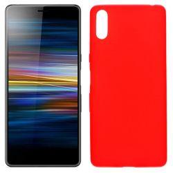 Funda silicona rojo Sony Xperia L3, trasera mate semitransparente