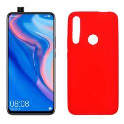 Funda silicona rojo Huawei P Smart Z, trasera mate semitransparente