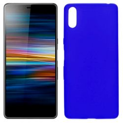 Funda silicona azul Sony Xperia L3, trasera mate semitransparente