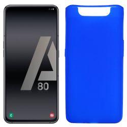 Funda silicona azul Samsung Galaxy A80, trasera semitransparente y mate