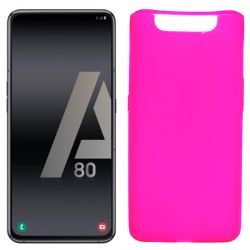Funda silicona rosa Samsung Galaxy A80, trasera semitransparente y mate