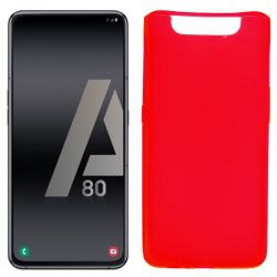 Funda silicona rojo Samsung Galaxy A80, trasera semitransparente y mate