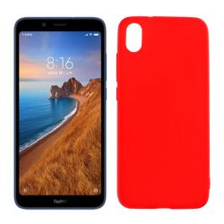 Funda silicona rojo Xiaomi Redmi 7A, trasera semitransparente y mate