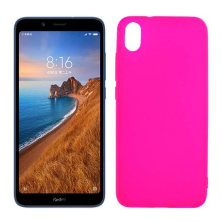 Funda silicona rosa Xiaomi Redmi 7A, trasera semitransparente y mate