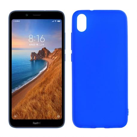 Funda silicona azul Xiaomi Redmi 7A, trasera semitransparente y mate