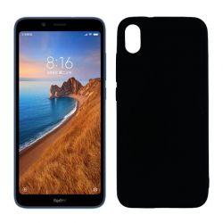 Funda silicona negro Xiaomi Redmi 7A, trasera semitransparente y mate