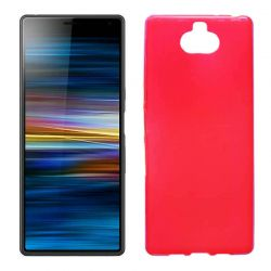 Funda silicona rojo Sony Xperia 10, trasera semitransparente y mate