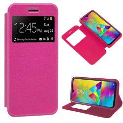 Funda libro con tapa, ventana y soporte Samsung Galaxy M20 Rosa