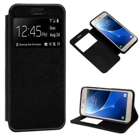 Funda libro Flip Cover con Tapa y Ventana Samsung Galaxy J5 2016 Negro
