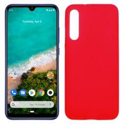 Funda silicona rojo Xiaomi Mi A3, trasera semitransparente y mate