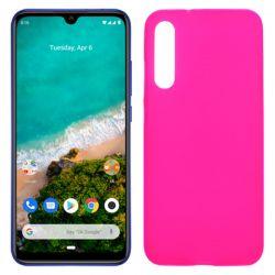 Funda silicona rosa Xiaomi Mi A3, trasera semitransparente y mate