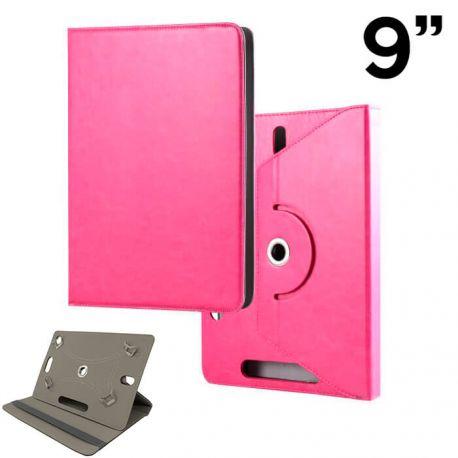 Funda Libro Universal Giratoria 360 Soporte, Tablets 9 pulgadas Rosa