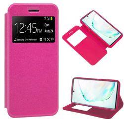 Funda libro con tapa, ventana y soporte Samsung Galaxy Note 10 Plus Rosa