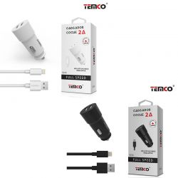 Cargador de Coche 2A doble usb y cable lightning para iPhone 5 6 7 8 X