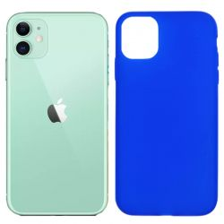 Funda silicona azul iPhone 11, trasera mate semitransparente