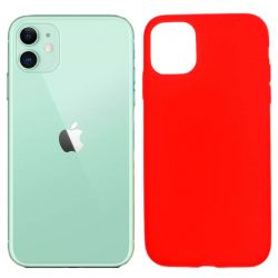 Funda silicona rojo iPhone 11, trasera mate semitransparente