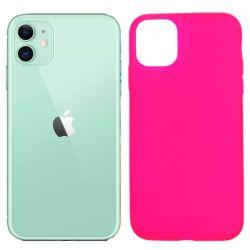 Funda silicona rosa iPhone 11, trasera mate semitransparente