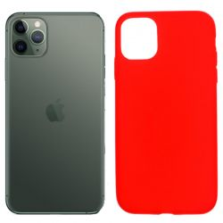 Funda silicona rojo iPhone 11 Pro, trasera mate semitransparente