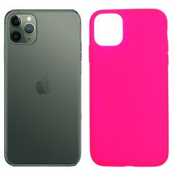 Funda silicona rosa iPhone 11 Pro, trasera mate semitransparente