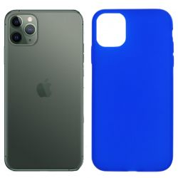 Funda silicona azul iPhone 11 Pro, trasera mate semitransparente
