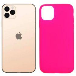 Funda silicona rosa iPhone 11 Pro Max, trasera mate semitransparente