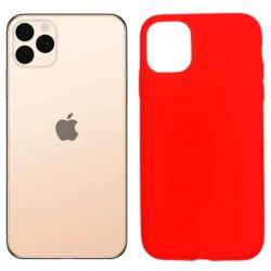 Funda silicona rojo iPhone 11 Pro Max, trasera mate semitransparente