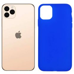 Funda silicona azul iPhone 11 Pro Max, trasera mate semitransparente