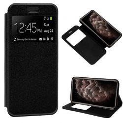 Funda de libro cierre imán interior Ventana y Soporte iPhone 11 Pro Max Negro