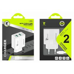 Cargador de Red Doble Usb 2.4A y cable Tipo C para Móvil y Tablet