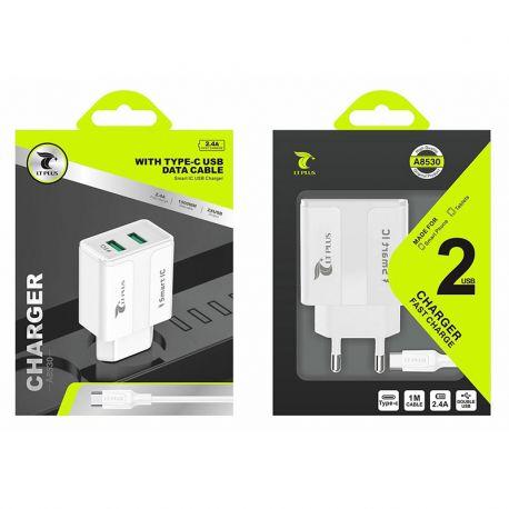 Cargador de Red Doble Usb 2.4A y cable Tipo C para Móvil y Tablet