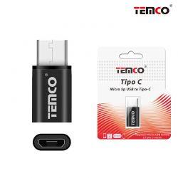 Adaptador Usb Tipo C a Micro Usb 2 en 1 metálico negro
