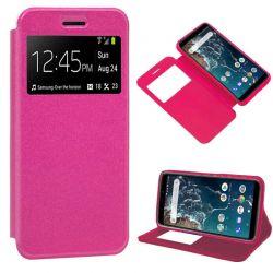Funda libro con Tapa y Ventana para Xiaomi Mi 6X / Mi A2 Rosa