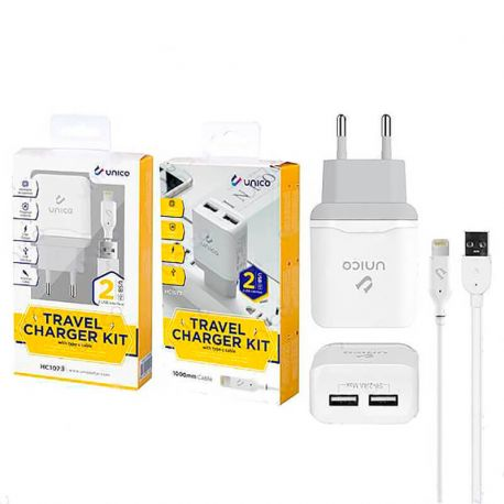 Cargador Carga Rápida Doble Usb y cable lightning 2.4A iPhone y iPad