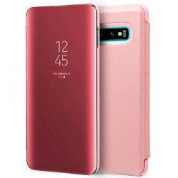 Funda con tapa de espejo Clear View para Samsung Galaxy S10 Rosa