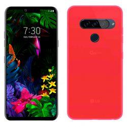 Funda de silicona roja para LG G8S Semitransparente y mate