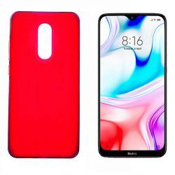Funda de silicona roja para Xiaomi Redmi 8 Semitransparente y mate