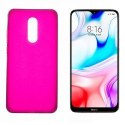 Funda de silicona rosa para Xiaomi Redmi 8 Semitransparente y mate