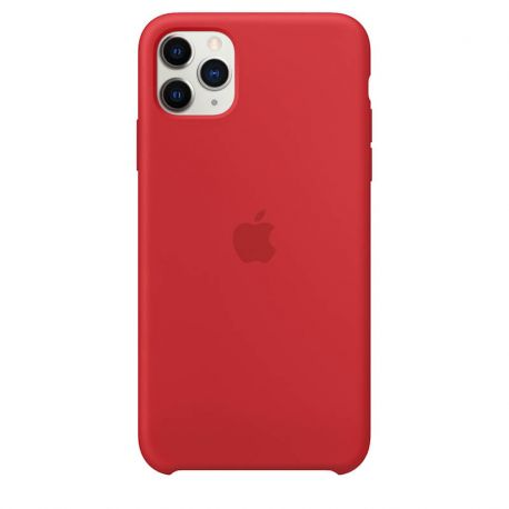 Funda de Silicona suave con logo para Apple iPhone 11 Pro Max Rojo