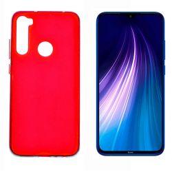 Funda de silicona roja para Xiaomi Redmi Note 8 Semitransparente y mate