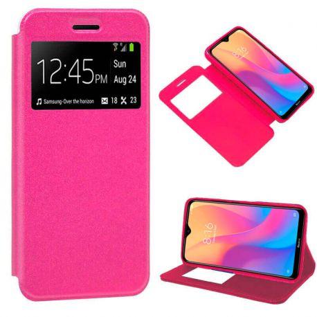 Funda de Tapa con Imán, Ventana y Soporte para Xiaomi Redmi 8A Rosa