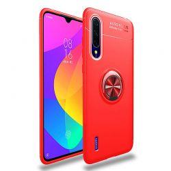 Funda magnética con soporte de anillo para Xiaomi Mi A3 Rojo