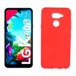 Funda de silicona roja para LG K40S Semitransparente y mate