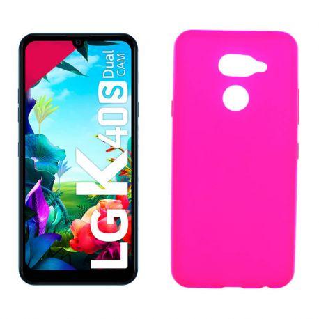 Funda de silicona rosa para LG K40S Semitransparente y mate