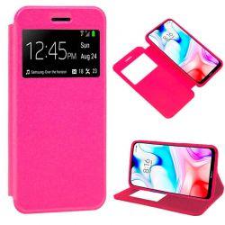 Funda de Tapa con Imán, Ventana y Soporte para Xiaomi Redmi 8 Rosa