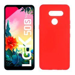 Funda de silicona roja para LG K50S Semitransparente y mate